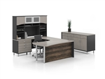 Candex Executive U-Station w/ Buffet Height Credenza