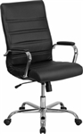 HIGH BACK BLACK EXECUTIVE SWIVEL CHAIR WITH CHROME BASE AND ARMS