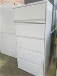 KNOLL 5 Drawer Lateral File Cabinet Light Grey