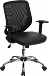 NEW Mid-Back Black Office Chair with Mesh Back and Italian Leather Seat