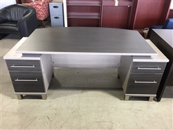 NEW CANDEX FLOATING BOW TOP DOUBLE PEDESTAL DESK