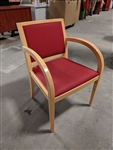 Geiger Wood Guest Chair Red Fabric