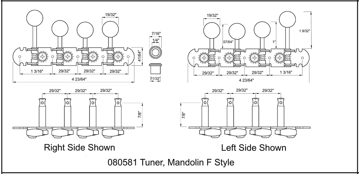 Tuning Machines Mandolin F Type 15:1 Staggered Nickel Ivoroid on
