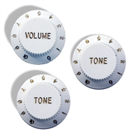 Knob push on hat type 6mm White set of 3