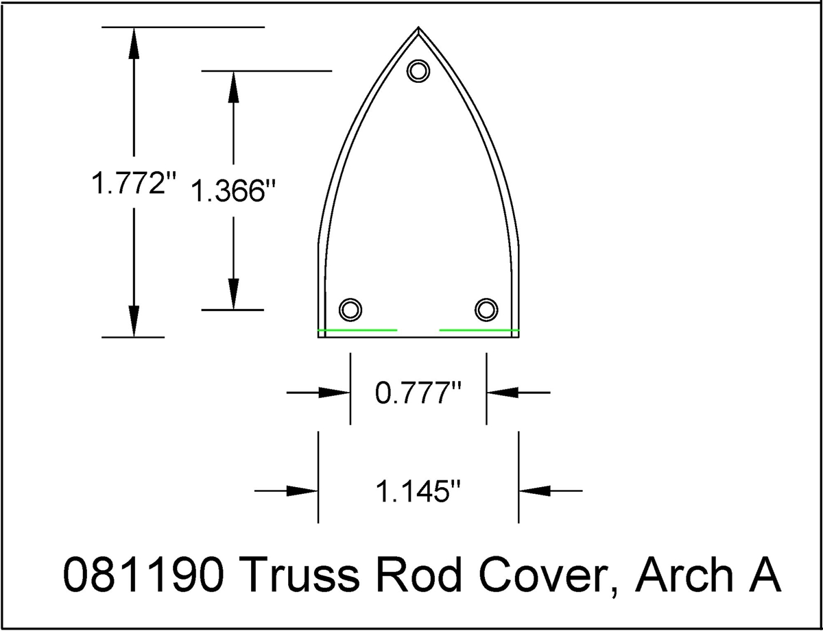 truss rod cover curved triangular v shaped 3 holes with mounting rh bitterrootguitars com