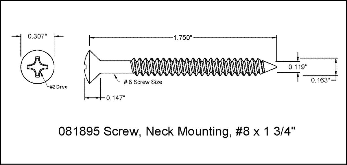 Black Steel Guitar Neck Mounting Screws 4.2mm x 45mm