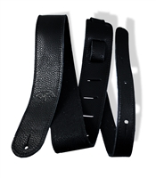 "2"" guitar strap black leather extra long"