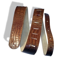"2"" guitar strap brown crocodile embossed leather extra long"