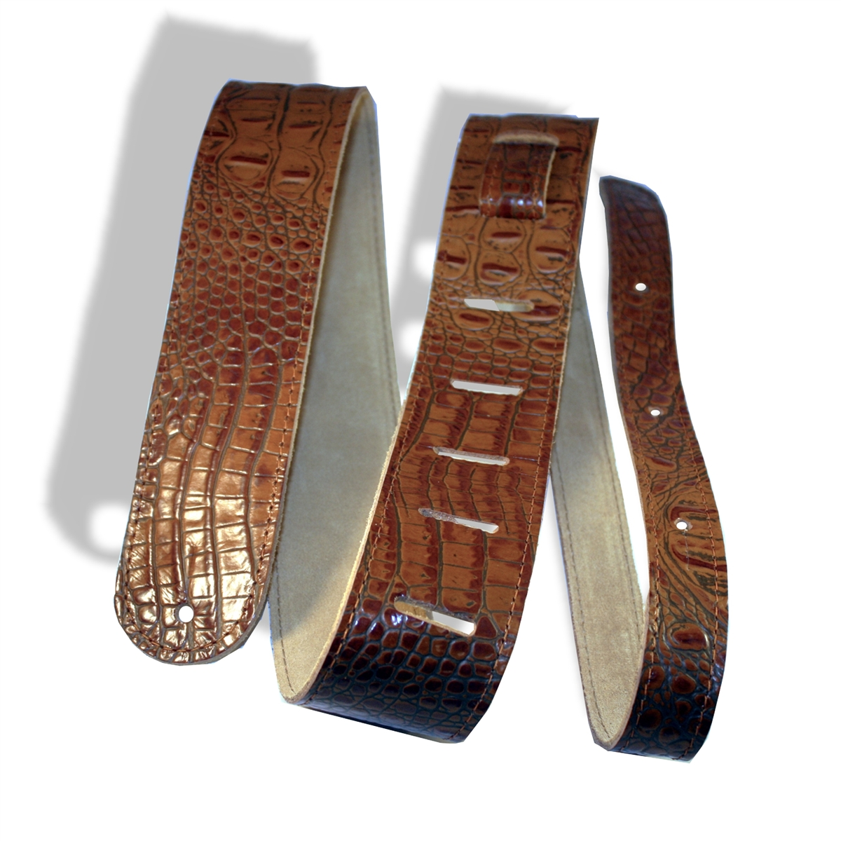 5ca7534105f guitar strap leather 2 brown (tan) crocodile embossed xl extra long ...