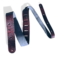 "2"" guitar strap wine crocodile embossed leather extra long"