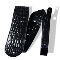 "3"" guitar strap black crocodile embossed leather extra long"