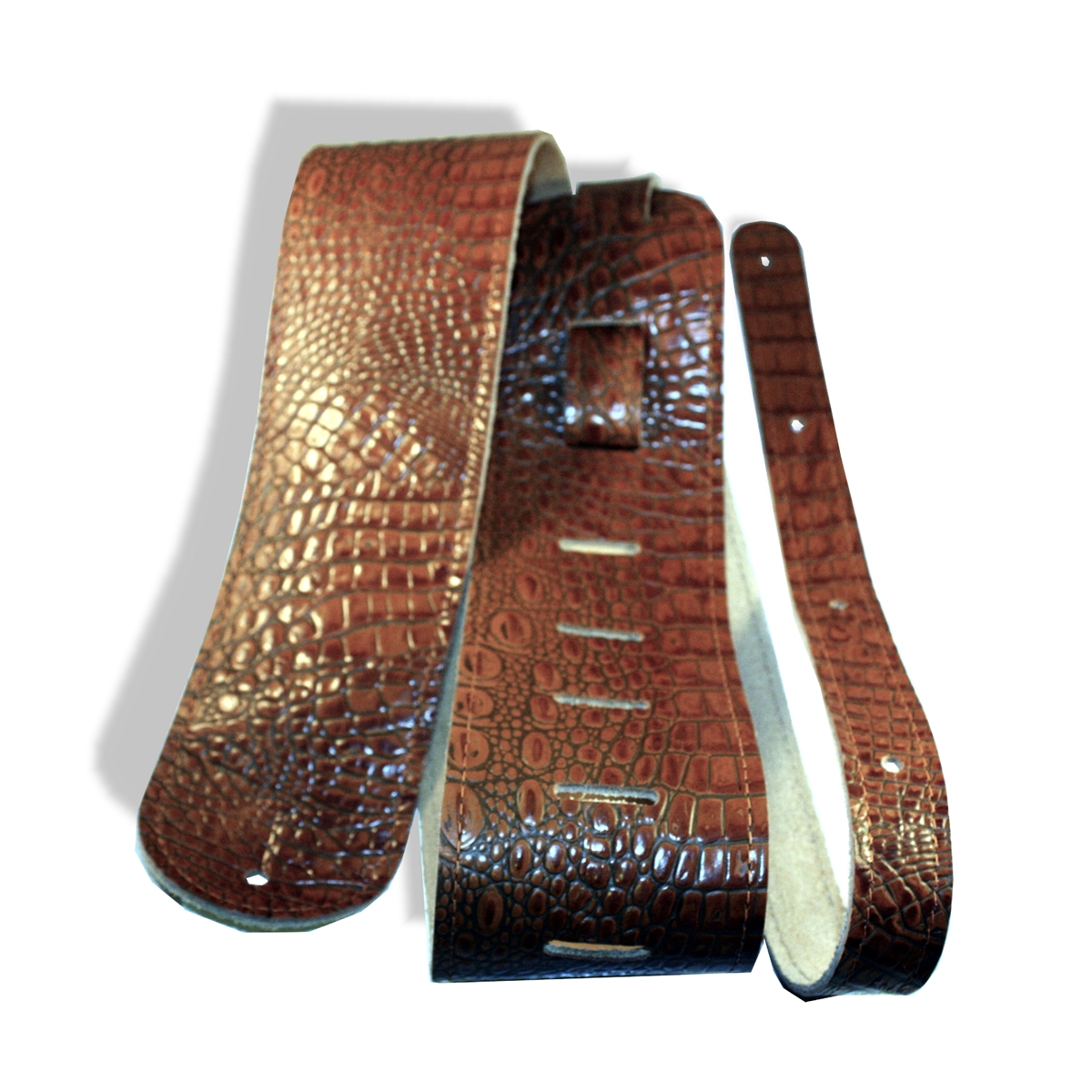 eb25ad834b3 guitar strap leather 3 brown (tan) crocodile embossed xl extra long ...