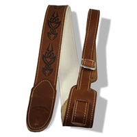 "2"" guitar strap brown leather cotton backer embossed"