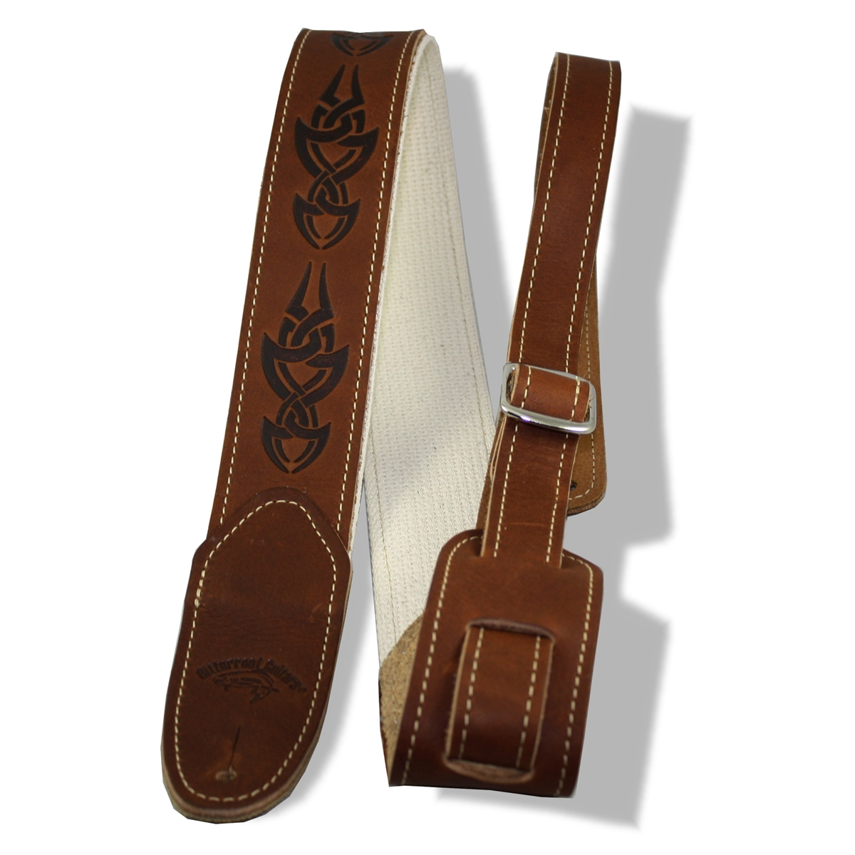 25baf243e31 guitar strap leather 2 brown cotton stitched backer embossed