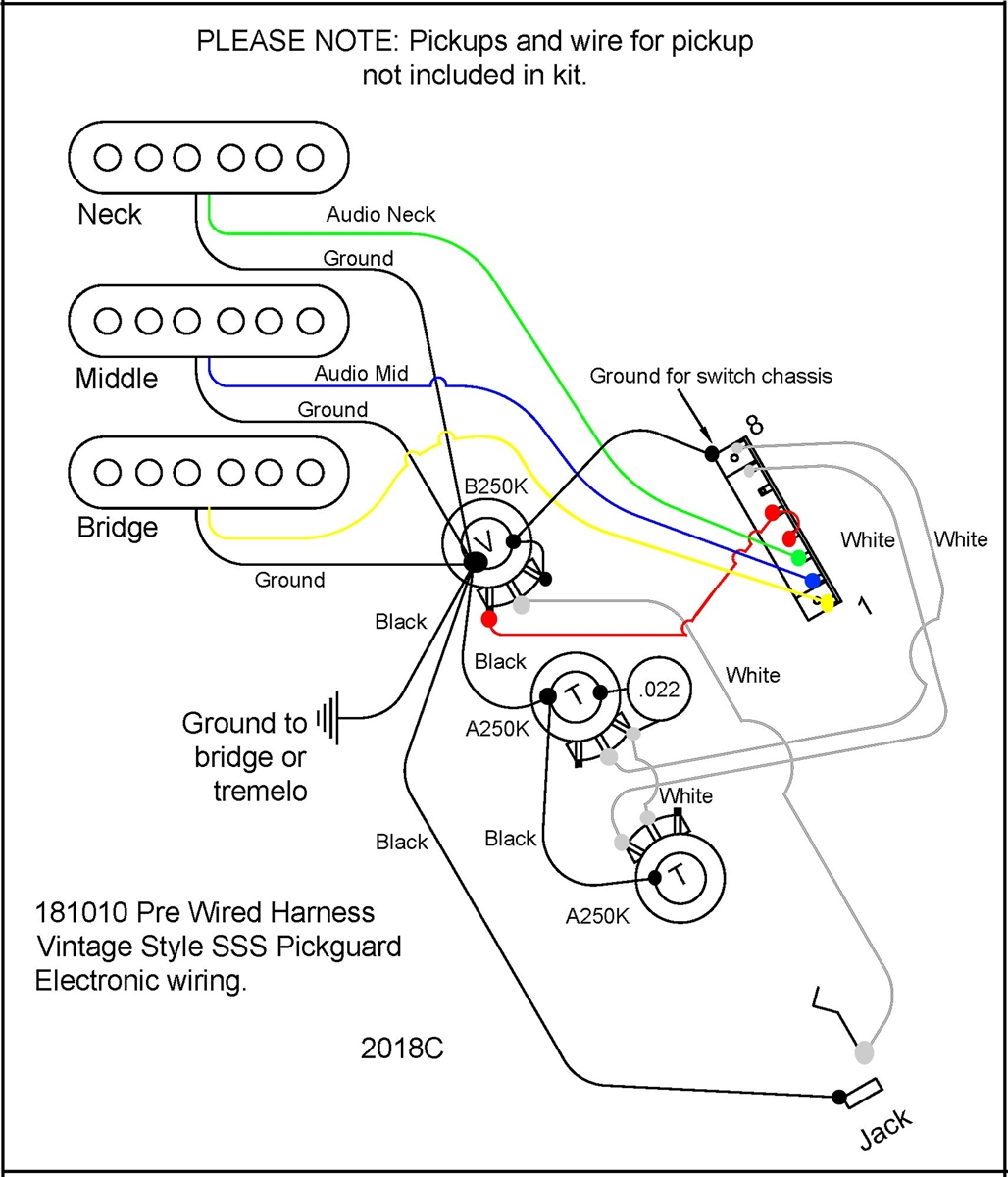 Pre Wire guitar harness for SSS S Style guitars. Includes wire harness, 5  way switch, 1 volume, 2 tone potentiometer, jack, capacitor and wired for  installation. Does not include pickupsBitterroot Guitars