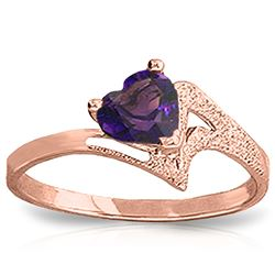 ALARRI 0.75 Carat 14K Solid Rose Gold Ring Natural Purple Amethyst