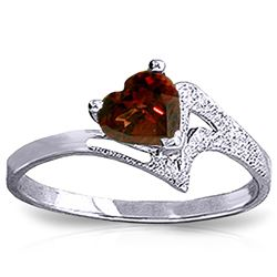 ALARRI 0.9 Carat 14K Solid White Gold Ring Natural Garnet