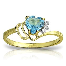 ALARRI 0.97 CTW 14K Solid Gold Ring Natural Diamond Blue Topaz