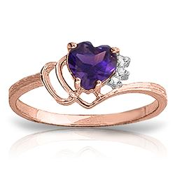 ALARRI 0.97 CTW 14K Solid Rose Gold Ring Natural Diamond Purple Amethyst