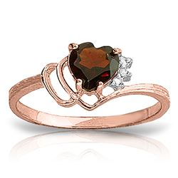 ALARRI 0.97 Carat 14K Solid Rose Gold Ring Natural Diamond Garnet