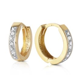 ALARRI 0.04 Carat 14K Solid Gold Hoop Huggie Earrings Diamond