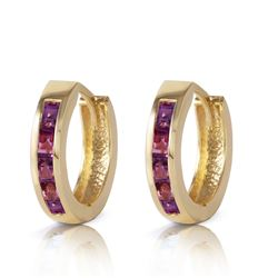 ALARRI 0.85 Carat 14K Solid Gold Hoop Huggie Earrings Purple Amethyst