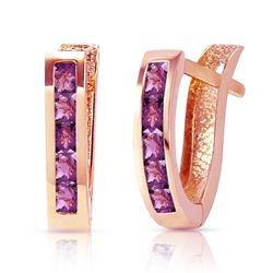 ALARRI 0.85 CTW 14K Solid Rose Gold Oval Huggie Earrings Purple Amethyst