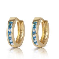 ALARRI 1.2 Carat 14K Solid Gold Hoop Huggie Earrings Blue Topaz