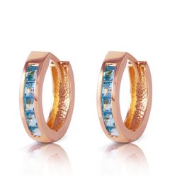ALARRI 1.2 CTW 14K Solid Rose Gold Hoop Huggie Earrings Blue Topaz