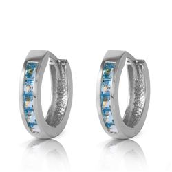ALARRI 1.2 Carat 14K Solid White Gold Hoop Huggie Earrings Blue Topaz