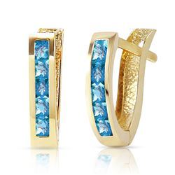 ALARRI 1.2 Carat 14K Solid Gold Oval Huggie Earrings Blue Topaz