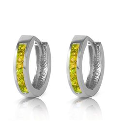 ALARRI 1 Carat 14K Solid White Gold Hoop Huggie Earrings Peridot