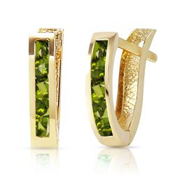 ALARRI 1 CTW 14K Solid Gold Oval Huggie Earrings Peridot