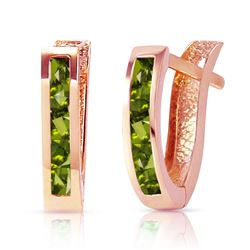 ALARRI 1 Carat 14K Solid Rose Gold Oval Huggie Earrings Peridot
