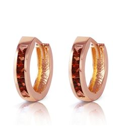 ALARRI 1.3 Carat 14K Solid Rose Gold Hoop Huggie Earrings Garnet