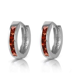 ALARRI 1.3 Carat 14K Solid White Gold Hoop Huggie Earrings Garnet