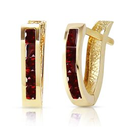 ALARRI 1.3 Carat 14K Solid Gold Oval Huggie Earrings Garnet