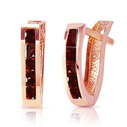 ALARRI 1.3 Carat 14K Solid Rose Gold Oval Huggie Earrings Garnet
