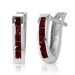 ALARRI 1.3 Carat 14K Solid White Gold Oval Huggie Earrings Garnet