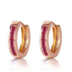 ALARRI 1.3 Carat 14K Solid Rose Gold Hoop Earrings Natural Ruby