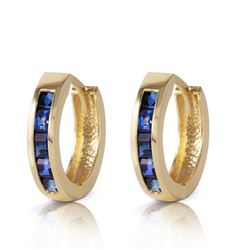 ALARRI 1.3 Carat 14K Solid Gold Hoop Earrings Natural Sapphire