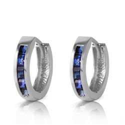 ALARRI 1.3 CTW 14K Solid White Gold Hoop Earrings Natural Sapphire