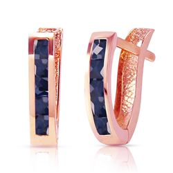 ALARRI 1.3 Carat 14K Solid Rose Gold Oval Huggie Earrings Sapphire