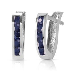ALARRI 1.3 Carat 14K Solid White Gold Oval Huggie Earrings Sapphire