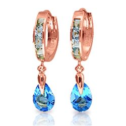 ALARRI 4.2 Carat 14K Solid Rose Gold Huggie Earrings Dangling Blue Topaz