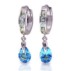 ALARRI 4.2 Carat 14K Solid White Gold Huggie Earrings Dangling Blue Topaz