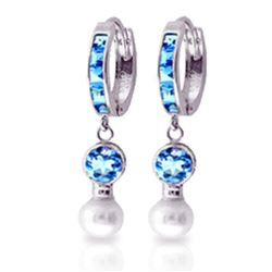 ALARRI 4.3 Carat 14K Solid White Gold Huggie Earrings Pearl Blue Topaz