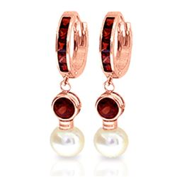 ALARRI 4.3 Carat 14K Solid Rose Gold Huggie Earrings Pearl Garnet