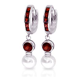 ALARRI 4.3 Carat 14K Solid White Gold Huggie Earrings Pearl Garnet