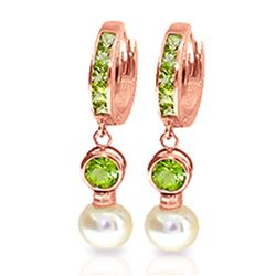 ALARRI 4.3 Carat 14K Solid Rose Gold Huggie Earrings Pearl Peridot